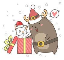Cartoon Reindeer and Cat in Gift Box