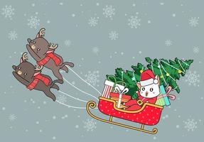 Santa Clause Cat in Sleigh Pulled by Reindeer Cats