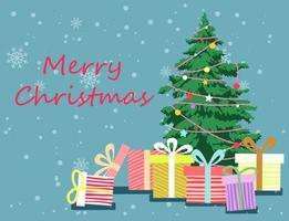 feliz árbol de navidad y regalos saludo