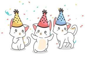 gatos con sombreros de cumpleaños en confeti