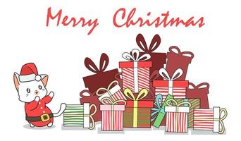 Hand Drawn Santa Cat and Gifts