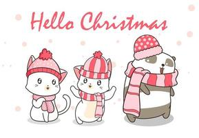 ''Hello Christmas'' with Cats and Pandas in Winter Clothing vector