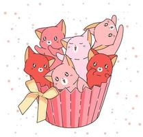 chats roses dessinés à la main dans un emballage de petit gâteau