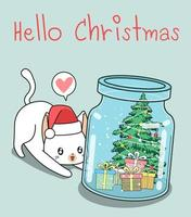 Hello Christmas In a Bottle Cat Background vector