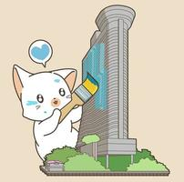 Cat Painting Building Illustration