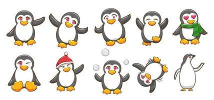 conjunto de pingüinos de dibujos animados vector