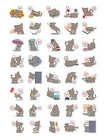 Set Of Cats Performing Different Tasks Collection vector