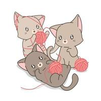Hand Drawn Cats Playing with Yarn