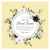 Soft hand drawn floral frame with roses