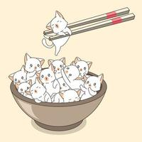 Hand Drawn Cats in Bowl with Chopsticks vector