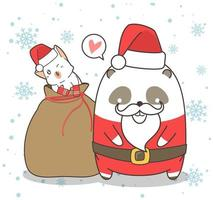 Sweet Panda Santa With Friend vector