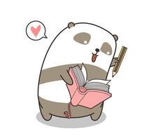 adorável panda escrevendo no livro vetor