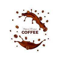 salpicaduras de café realistas con frijoles vector