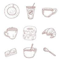 Vintage Coffee and Desserts Hand Drawn Set