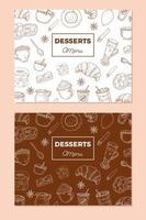 plantilla de menú de postres vintage vector