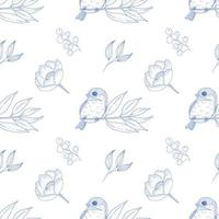 Vintage Seamless Pattern with Birds and Flowers in Blue