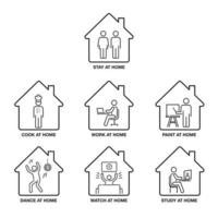 Stay at Home Icon Set