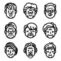 jeu d'icônes de personnes âgées
