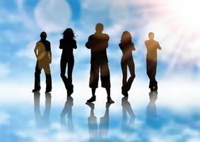 silhouette d'un groupe de personnes vecteur