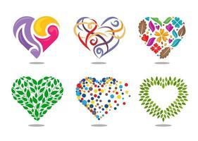 diferentes estilos de corazones vector