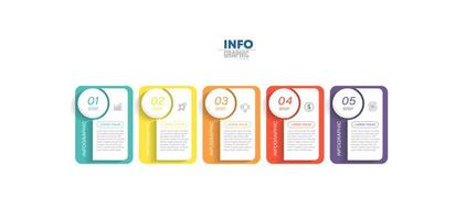 Five Step Colorful Business Infographic  vector