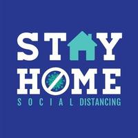 Blue Stay Home Sign with Icons
