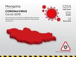 mongolia mapa del país afectado de coronavirus vector