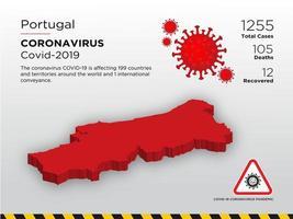 Portugal mapa del país afectado de coronavirus vector