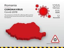 Romania Affected Country Map of Coronavirus vector