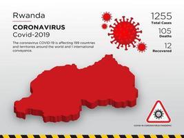 Rwanda Affected Country Map of Coronavirus vector