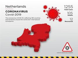 nederland getroffen landkaart van coronavirus vector