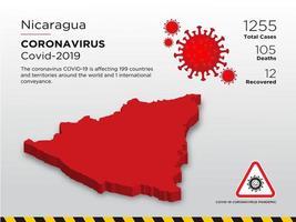Nicaragua mapa del país afectado de coronavirus vector