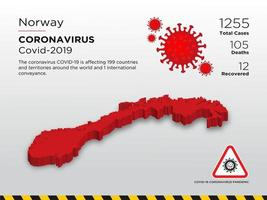 Norway Affected Country Map of Coronavirus vector