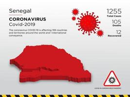 Senegal Affected Country Map of Coronavirus vector