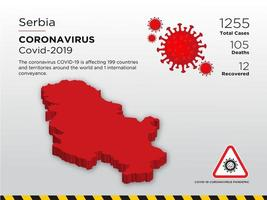Serbia Affected Country Map of Coronavirus vector