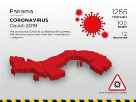 Panamá mapa del país afectado de coronavirus vector