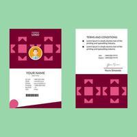cartão de identificação vertical geométrico quadrado rosa
