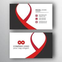Modern Red and Black Curved Shape Business Card vector
