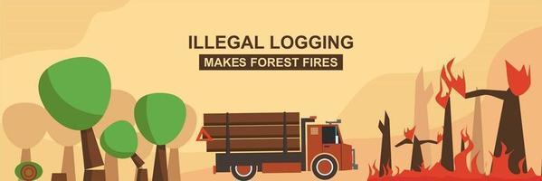 Illegal Logging Make Forest Fires vector