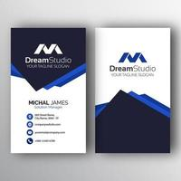 White Business Card with Overlapping Triangles vector