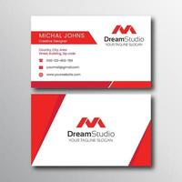 White Business Card with Red Angled Accents vector