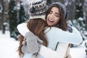 Winter hugs of the best friends photo