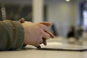 Hands clasped photo