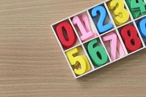 Colorido de números en la caja.