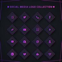 colección de logotipos de redes sociales de color morado oscuro vector