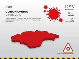 Iran Affected Country Map of Coronavirus Spread  vector