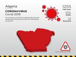 Algeria Affected Country Map of Coronavirus Disease Spread  vector