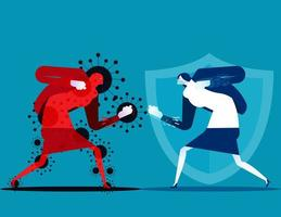 mujer luchando contra el personaje covid-19