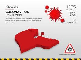 Kuwait Affected Country Map of Coronavirus  vector