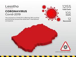 Lesotho Affected Country Map of Coronavirus Spread